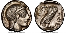 ATTICA. Athens. Ca. 440-404 BC. AR tetradrachm (24mm, 17.20 gm, 7h). NGC Choice AU 5/5 - 4/5. Mid-mass coinage issue. Head of Athena right, wearing cr...