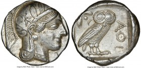 ATTICA. Athens. Ca. 440-404 BC. AR tetradrachm (25mm, 17.18 gm, 6h). NGC AU 5/5 - 4/5. Mid-mass coinage issue. Head of Athena right, wearing crested A...