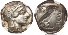 ATTICA. Athens. Ca. 440-404 BC. AR tetradrachm (23mm, 17.11 gm, 7h). NGC AU 5/5 - 3/5. Mid-mass coinage issue. Head of Athena right, wearing crested A...