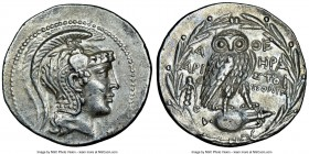 ATTICA. Athens. 2nd-1st centuries BC. AR tetradrachm (31mm, 16.93 gm, 11h). NGC AU 5/5 - 4/5. New Style coinage, ca. 136/5 BC, Hera-, Aristoph- and Po...