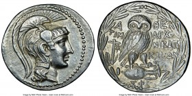 ATTICA. Athens. 2nd-1st centuries BC. AR tetradrachm (32mm, 16.77 gm, 11h). NGC AU 5/5 - 4/5. New Style coinage, ca. 134/3 BC, Timarchos, Nikag(oras),...