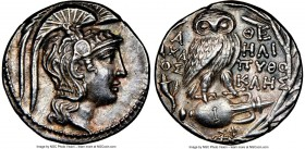 ATTICA. Athens. 2nd-1st centuries BC. AR tetradrachm (29mm, 16.96 gm, 11h). NGC AU 4/5 - 5/5. New Style coinage, ca. 128/7 BC, Axaios, Heli-, and Pyth...