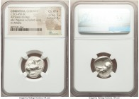 CORINTHIA. Corinth. Ca. 515-450 BC. AR stater (18mm, 8.64 gm, 2h). NGC Choice XF S 5/5 - 4/5. Pegasus with curled wing flying right, Ϙ below / Head of...