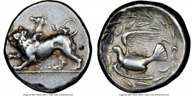 SICYONIA. Sicyon. Ca. 431-400 BC. AR stater (22mm, 12.15 gm, 5h). NGC VF 4/5 - 3/5. Chimaera stalking left, raising forepaw; ΣE below / Dove flying le...