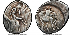 CRETE. Gortyna. Ca. 350-270 BC. AR stater (23mm, 11.80 gm, 10h). NGC Choice Fine 4/5 - 4/5. Europa, nude to waist, seated facing in tree, raising veil...