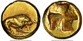 MYSIA. Cyzicus. Ca. 450-350 BC. EL 1/24 stater or myshemihecte (6mm, 0.65 gm). NGC AU 4/5 - 4/5, Fine Style. Lion standing right, holding hilt of harp...