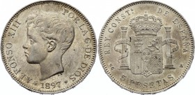Spain 5 Pesetas 1897 (97) SG V