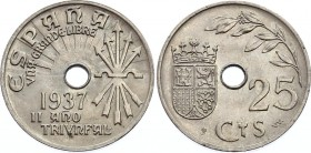 Spain 25 Sentimos 1937 