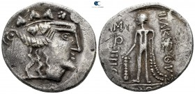 Eastern Europe. Imitation of Thasos 125-100 BC. Mint in the region of the lower Danube, Moesia, or Thrace. Tetradrachm AR