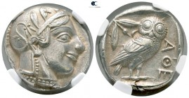 Attica. Athens 470-465 BC. NGC Ch XF Strike 5/5 - Surface 3/5. Tetradrachm AR. Transitional issue