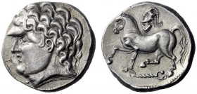 Celtic coins   Danubian Celts  Kroisbach type variant tetradrachm circa 100-50, AR 12.78 g. Male head l. Rev. Horse pacing l. on torque; above, creste...
