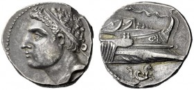 Greek Coins   Iberia, Carthago Nova   Hispano-Carthaginian issues . Dishekel 237-209, AR 14.68 g. Diademed male head (Hasdrubal ?) l. Rev. Prow of gal...