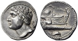 Greek Coins   Iberia, Carthago Nova   Hispano-Carthaginian issues . Shekel 237-209, AR 7.36 g. Diademed male head (Hasdrubal ?) l. Rev. Prow of galley...