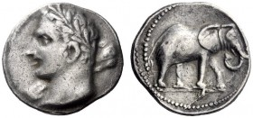 Greek Coins   Iberia, Carthago NovaIberia, Carthago Nova   Hispano-Carthaginian issues . 1½ shekel circa 221-206, AR 11.00 g. Laureate head (Melqart o...