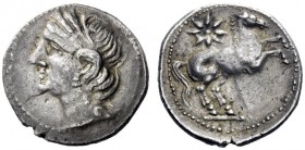Greek Coins   Iberia, Carthago Nova   Hispano-Carthaginian issues . Shekel circa 221-206, AR 7.42 g. Head of Tanit-Persephone l., wearing wreath of co...