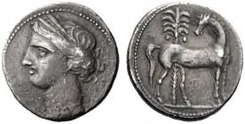 Greek Coins   Iberia, Carthago Nova   Hispano-Carthaginian issues . Shekel circa 221-206, AR 7.22 g. Head of Tanit-Persephone l., wearing wreath of co...
