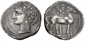 Greek Coins   Iberia, Carthago Nova   Hispano-Carthaginian issues . Shekel circa 221-206, AR 7.03 g. Head of Tanit-Persephone l., wearing wreath of co...