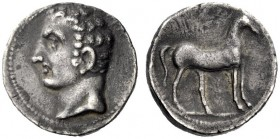 Greek Coins   Iberia, Carthago Nova   Hispano-Carthaginian issues . Half shekel circa 221-206, AR 3.59 g. Male head l. (Hannibal?). Rev. Horse standin...