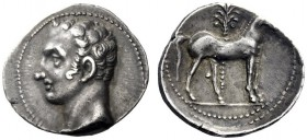 Greek Coins   Iberia, Carthago Nova   Hispano-Carthaginian issues . Shekel circa 221-206, AR 7.33 g. Male head l. (Hannibal?). Rev. Horse standing r.;...