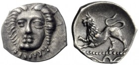 Greek Coins   Phistelia  Obol circa 325-275, AR 0.63 g. Female head facing. Rev. Lion crouching l.; below, snake. SNG Copenhagen 577. SNG ANS 587. His...