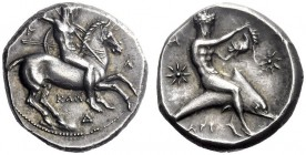 Greek Coins   Calabria, Tarentum  Nomos circa 333-330, AR 7.92 g. Naked ephebus on horse prancing r., holding reins, shield and two spears in l. hand ...