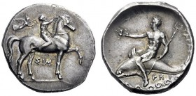 Greek Coins   Calabria, Tarentum  Nomos circa 333-330, AR 7.83 g. Naked ephebos seated on horse r., wreathed by Nike flying behind him; beneath, ΣIM. ...