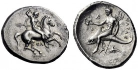 Greek Coins   Calabria, Tarentum  Nomos circa 315-300, AR 7.90 g. Naked ephebus on horse prancing r., holding reins, shield and two spears in l. hand ...