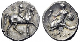 Greek Coins   Calabria, Tarentum  Nomos circa 280-272, AR 6.45 g. Jockey crowing its horse pacing r.; behind, AP ligate and below, ΔAMΥ – ΛOΣ Dolphin ...
