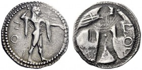 Greek Coins   Poseidonia  Drachm circa 530-500, AR 3.63 g. ΠOM Poseidon, chlamys over shoulder, advancing r., brandishing trident. Rev. The same type ...