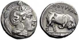 Greek Coins   Thurium  Nomos circa 400-350, AR 7.78 g. Head of Athena r., wearing Attic helmet decorated with Scylla holding staff and pointing. Rev. ...