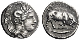 Greek Coins   Thurium  Nomos circa 400-350, AR 7.01 g. Head of Athena r., wearing Attic helmet decorated with Scylla pointing. Rev. ΘOΥΡIΩN Bull butti...
