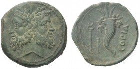 Greek Coins   Thurium  As after 192, Æ 8.45 g. Laureate head of Janus. Rev. COΓIA Cornucopiae filled with fruit; in l. field, caduceus and mark of val...