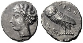 Greek Coins   Velia  Drachm circa 440-425, AR 3.81 g. Head of nymph l., hair bound with fillet, wearing necklace. Rev. YEΛH Owl standing l., with clos...