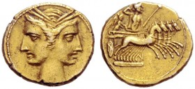 Greek Coins   Bruttium, the Carthaginians in South-West Italy  3/8 shekel circa 216-211, EL 2.82 g. Janiform female heads wreathed with corn. Rev. Jup...