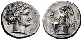 Greek Coins   Terina  Nomos circa 365, AR 7.68 g. TEPINAIΩN Female head r., hair rendered in elaborate style, wearing ear- ring and necklace. Rev. Nik...