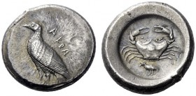 Greek Coins   Agrigentum  Didrachm circa 485, AR 8.99 g. AKRA Eagle standing l., with closed wings. Rev. Crab seen from above; below, bird l. SNG Lock...