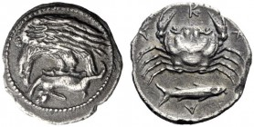 Greek Coins   Agrigentum  Hemidrachm circa 420, AR 2.04 g. Eagle flying l., perching on hare held in its talons. Rev. A – K – R – A Crab seen from abo...