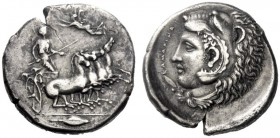 Greek Coins   Camarina  Tetradrachm circa 425-405, AR 16.64 g. Prancing quadriga driven r. by charioteer holding kentron and reins; above, Nike flying...