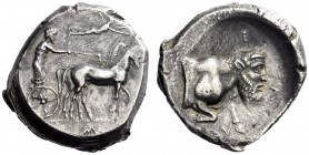 Greek Coins   Gela  Tetradrachm circa 420-415, AR 17.55 g. Slow quadriga driven r. by charioteer, holding kentron and reins; above, Nike flying r. to ...