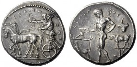 Greek Coins   Selinus  Tetradrachm circa 440, AR 17.44 g. ΣEΛ – IN – ONT – IOΣ Slow quadriga l. in which stand Apollo and Artemis, respectively shooti...