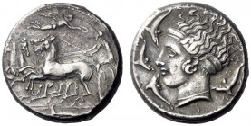Greek Coins   Syracuse  Tetradrachm circa 405-395, AR 17.25 g. Fast quadriga driven l. by chiton -clad clad charioteer, holding kentron and reins; abo...