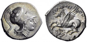Greek Coins   Syracuse  Corinthian stater circa 317-310, AR 8.25 g. Head of Athena r., wearing crested Corinthian helmet decorated with griffin on bow...