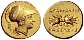 Greek Coins   Syracuse  Double decadrachm circa 304-289, AV 5.68 g. Head of Athena r., wearing earring, necklace and crested Corinthian helmet decorat...