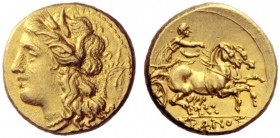 Greek Coins   Syracuse  Decadrachm 274-216, AV 4.26 g. Head of Persephone l., wearing barley wreath; behind, palm branch tied with fillet. Rev. Pranci...