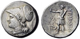 Greek Coins   Syracuse  12 litrae 214-212, AR 10.15 g. Head of Athena l., wearing crested Corinthian helmet decorated with griffin on bowl. Rev. ΣΥΡAK...