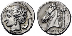 Greek Coins   The Carthaginians in Sicily and in North Africa  Tetradrachm, uncertain mint in Sicily circa 320-300, AR 17.14 g. Head of Tanit l., wear...