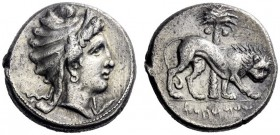Greek Coins   The Carthaginians in Sicily and in North Africa  Tetradrachm, uncertain mint in Sicily circa 320-310, AR 17.25 g. Head of Tanit r., wear...