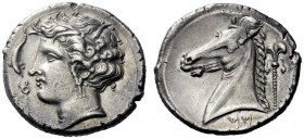Greek Coins   The Carthaginians in Sicily and in North Africa  Tetradrachm, uncertain mint in Sicily circa 310, AR 17.05 g. Head of Tanit l., wearing ...
