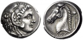 Greek Coins   The Carthaginians in Sicily and in North Africa  Tetradrachm, uncertain mint in Sicily circa 300-290, AR 17.17 g. Head of Melkart r., we...