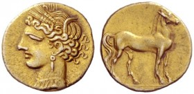 Greek Coins   The Carthaginians in Sicily and in North Africa  Quarter stater, Carthago circa 255-241, EL 2.14 g. Head of Tanit l., wearing barley-wre...